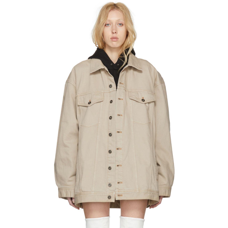 Y Project Beige Oversized Denim Jacket Oversized Denim Jacket Long Denim Jacket Faded Denim Jackets [ 1360 x 1360 Pixel ]