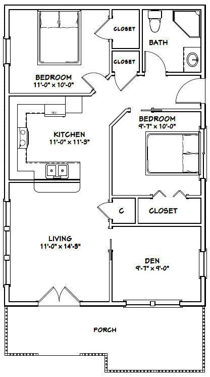24x36 House 2 Bedroom 1 Bath 864 Sq Ft Pdf Floor Plan Model 1 29 99 Tiny House Floor Plans Small House Floor Plans Small House Plans