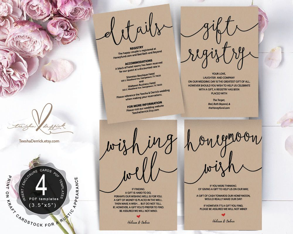 Wedding Insert cards PDF template (Instant download), gift