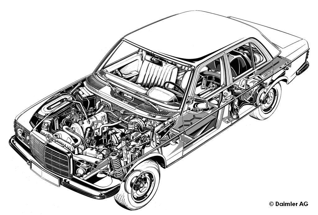 Mercedes Benz W 123 Cutaway Motori