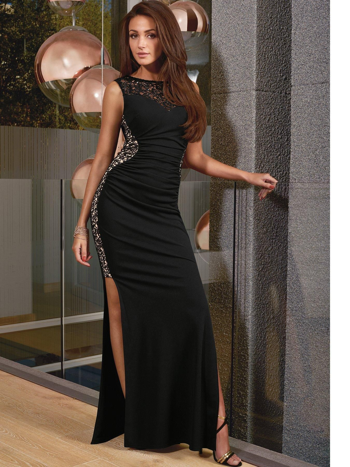 dabe7bb32d Lipsy Michelle Keegan Black Glitter Maxi Dress