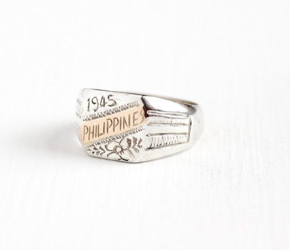 Vintage Sterling Silver Rose Gold Philippines Ring Dated 1945 Men 39 S Size 10 Historical Jewellery Vintage Sterling Silver Rings Vintage Sterling Silver