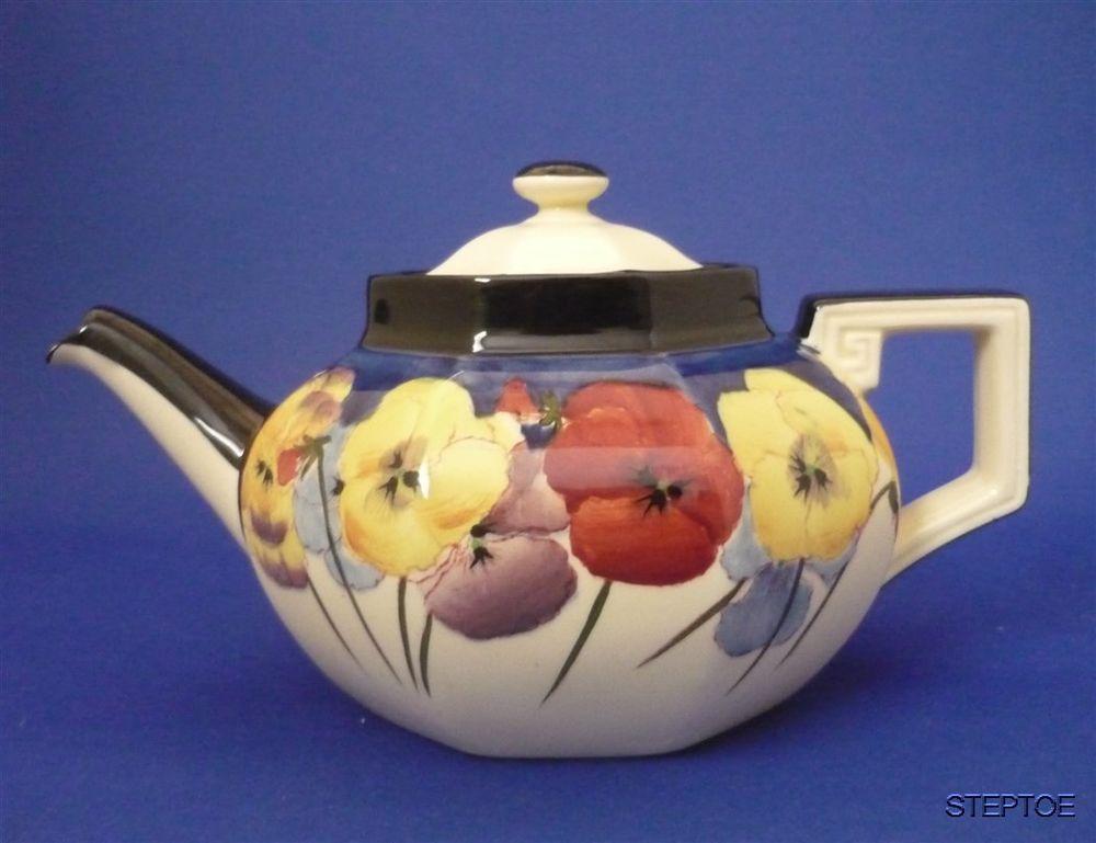 PERFECT c1930's Royal Doulton England Large PANSY D4049 Bone China Tea Pot