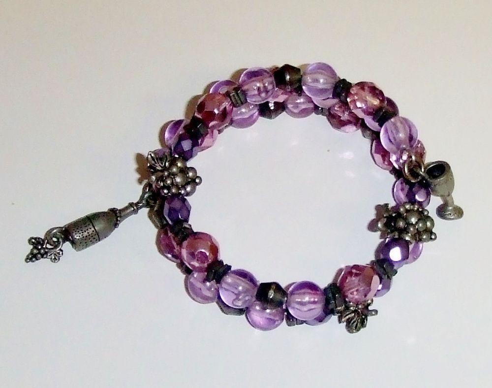446~Pretty! Lavender Purple Pewter Grape Wine Glass Bottle Bead Wrap Bracelet #Beaded https://www.facebook.com/AColourfulPast