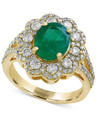 Brasilica by EFFY Emerald (2-1/8 ct. t.w.) and Diamond (1 ct. t.w.) Flower Ring in 14k Gold