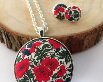 Fabric Jewellery Set made with Liberty of London Fabric. Pendant and matching Earrings