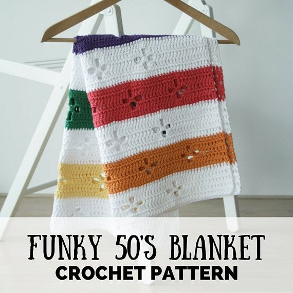 Funky fifties retro blanket: crochet pattern (PDF), retro blanket ...