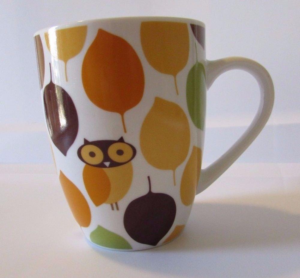 Rachael Ray Little Hoot Owl Fall Leaves Coffee Mug Cup Orange Brown