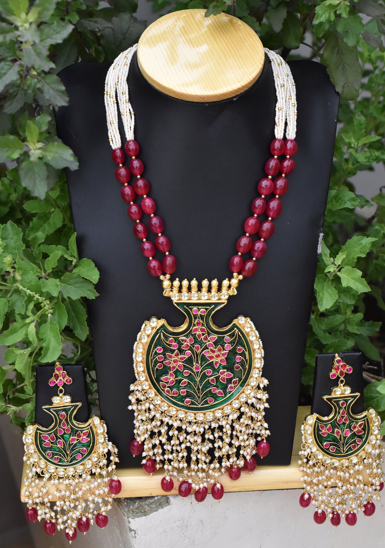 High quality kundan with meenakari kundan long necklace kundan