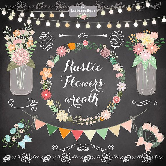 Rustic+wedding+clipart+shabby+chic+clipart+Hand+by+1burlapandlace,+$4.99