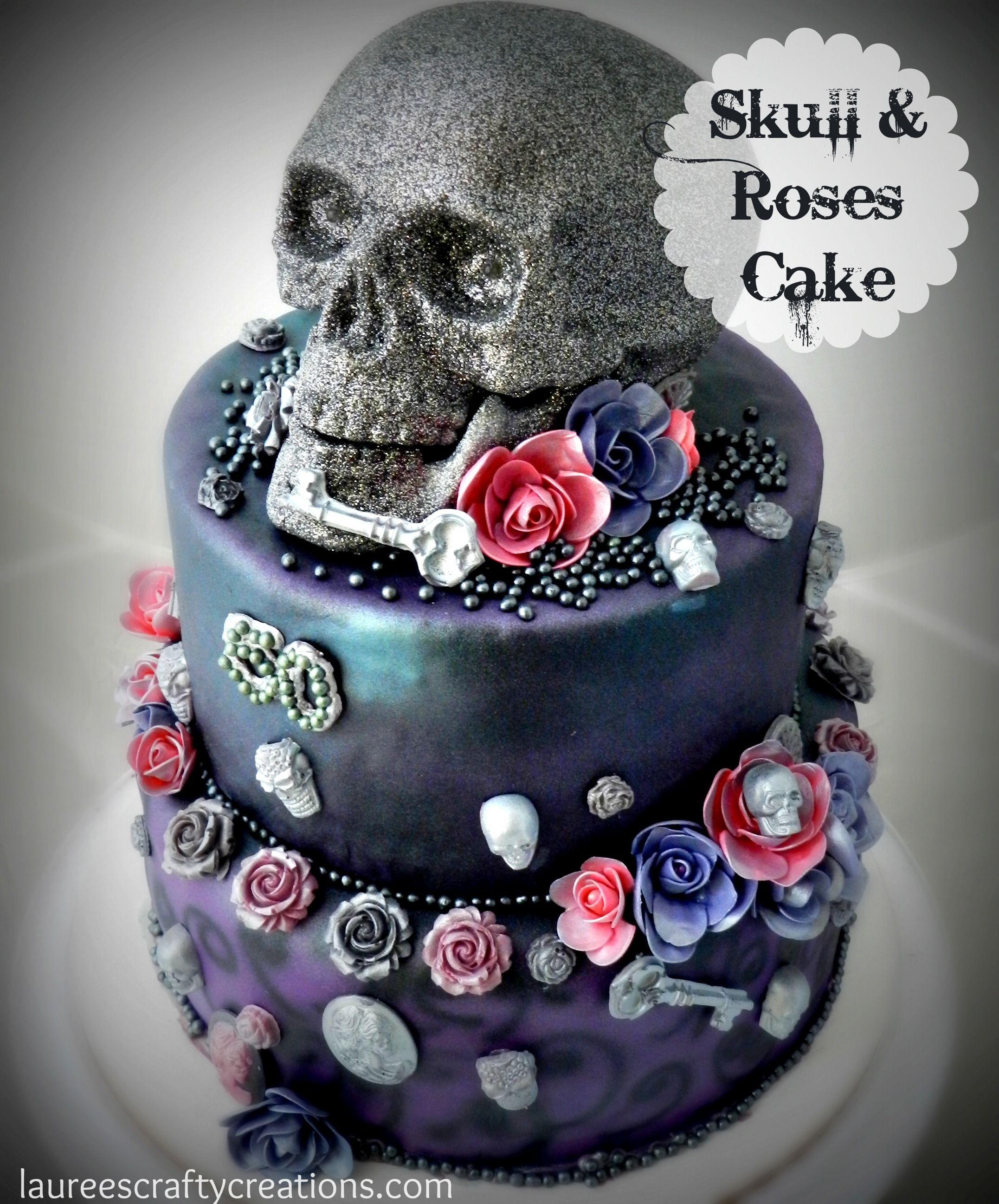 Outstanding Skull Roses Birthday Cake Laureescraftycreations Com Glamour Cake Funny Birthday Cards Online Eattedamsfinfo