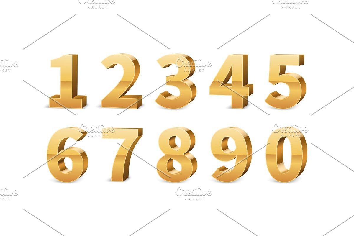 Gold 3d Numbers Big Golden Number In