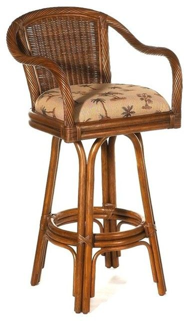 rattan swivel stool w upholstered seat (banana bay chili) tropicalrattan swivel stool w upholstered seat (banana bay chili) tropical bar stools and counter stools