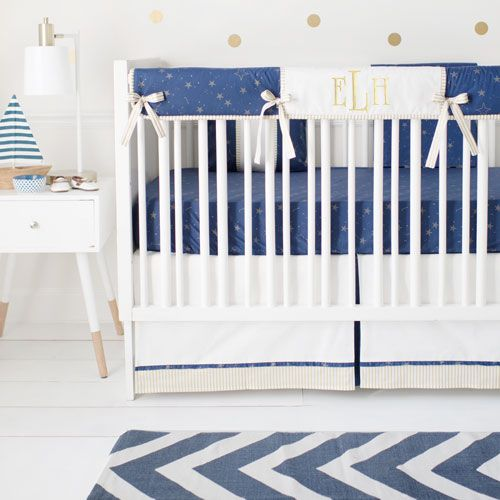 Navy And Gold Boy Nursery Set Lucky Stars In Navy Collection