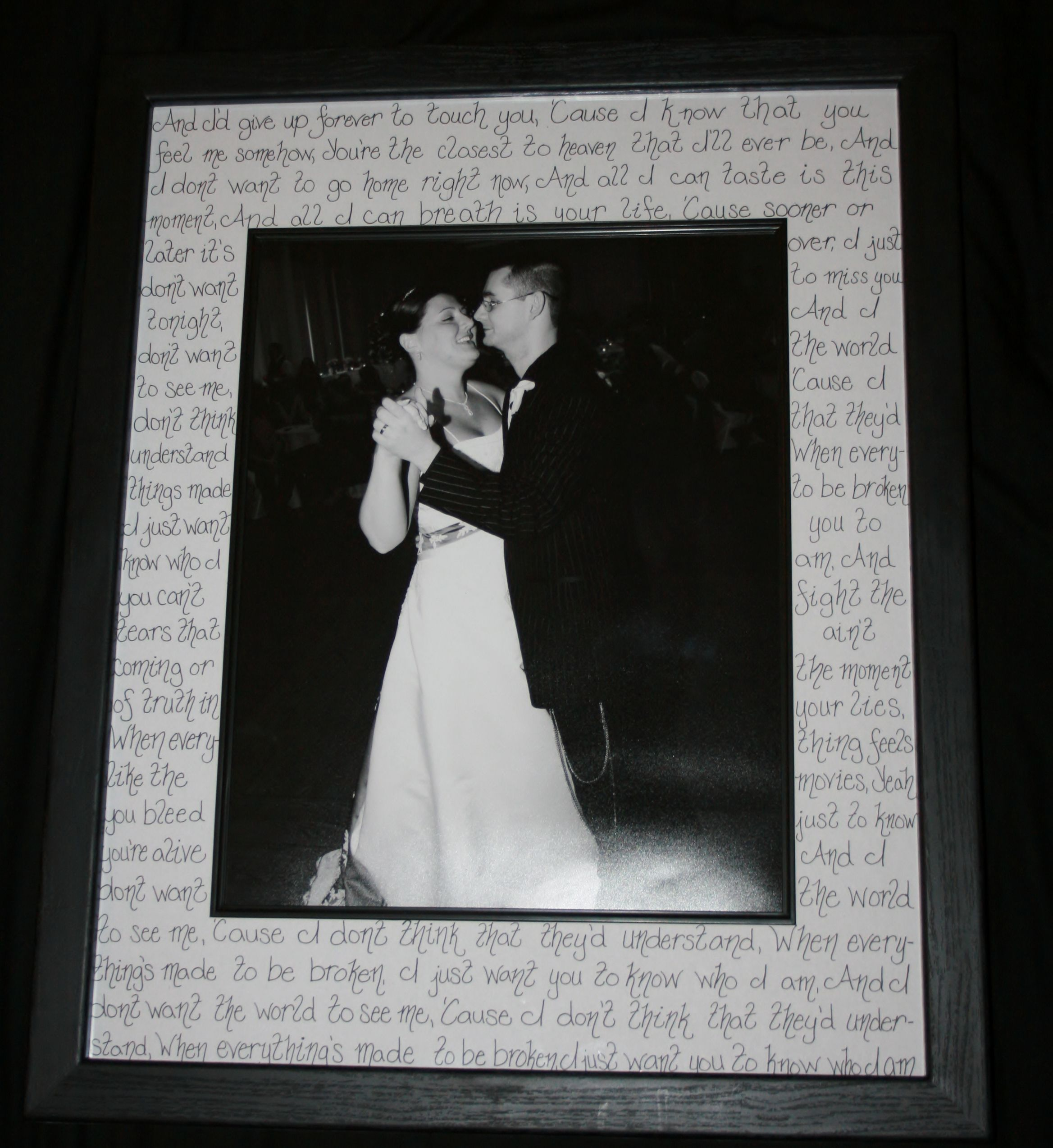 Purchase a frame with a wide matte, and write the song lyrics to ...