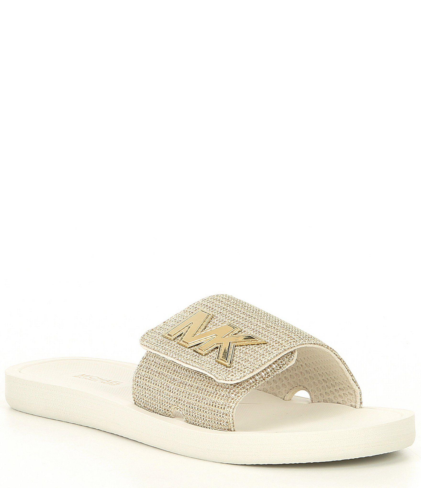 MICHAEL Michael Kors Glitter MK Logo Slides Rose Gold 10M