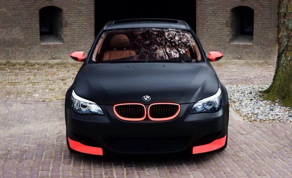 A Tasty Matte Black And Coral Pink BMW M5