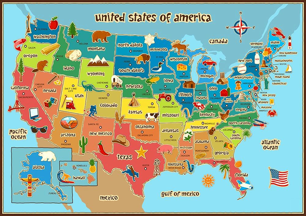 Childrens Map Of The United States Children's Map of USA Poster Wall Art Kids Baby door BlueIvoryLane