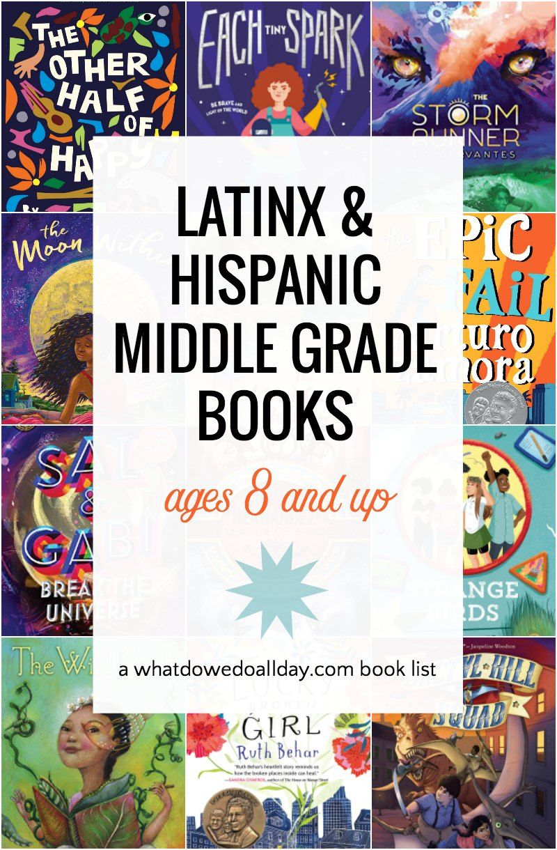 Children's books with Latinx and Hispanic characters by Latinx and Hispanic authors. Middle grade books for kids ages 8 and up. These diverse books includes contemporary realism, historical fiction, fantasy and verse novels. Great reading for Hispanic Heritage Month. #OwnVoices #childrensbooks #hispanic #latinx