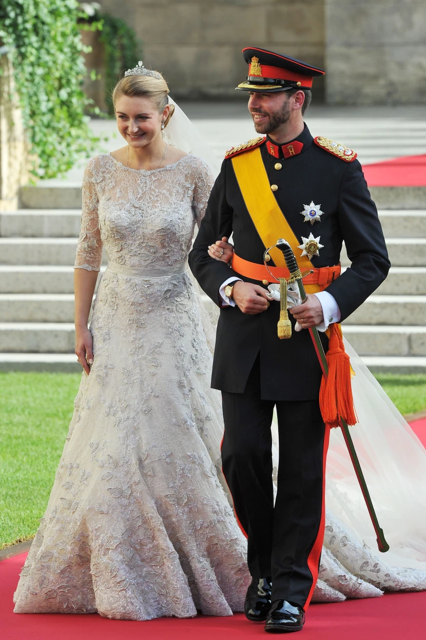 A Royal Wedding All The Details On Princess Stephanie S Nuptials From The Gown To The Hats Princess Stephanie Royal Wedding Royal Brides [ 1247 x 830 Pixel ]