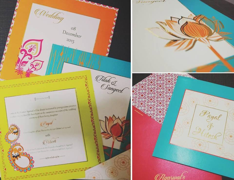 Colorful lotus themed invites by Jaira Designs, Kolkata Wedding - invitation card kolkata