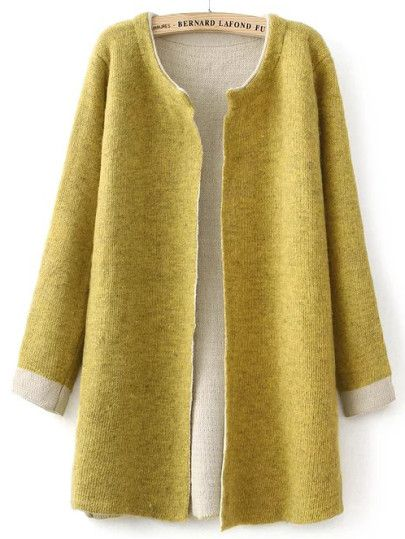 Yellow Open Front Contrast Cuff Cardigan, love this color and ...