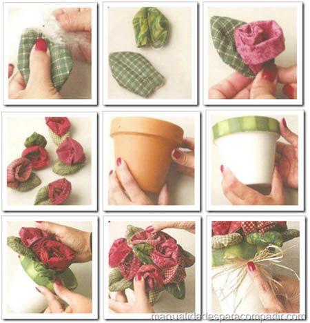 como hacer rosas de tela para decorar maceta