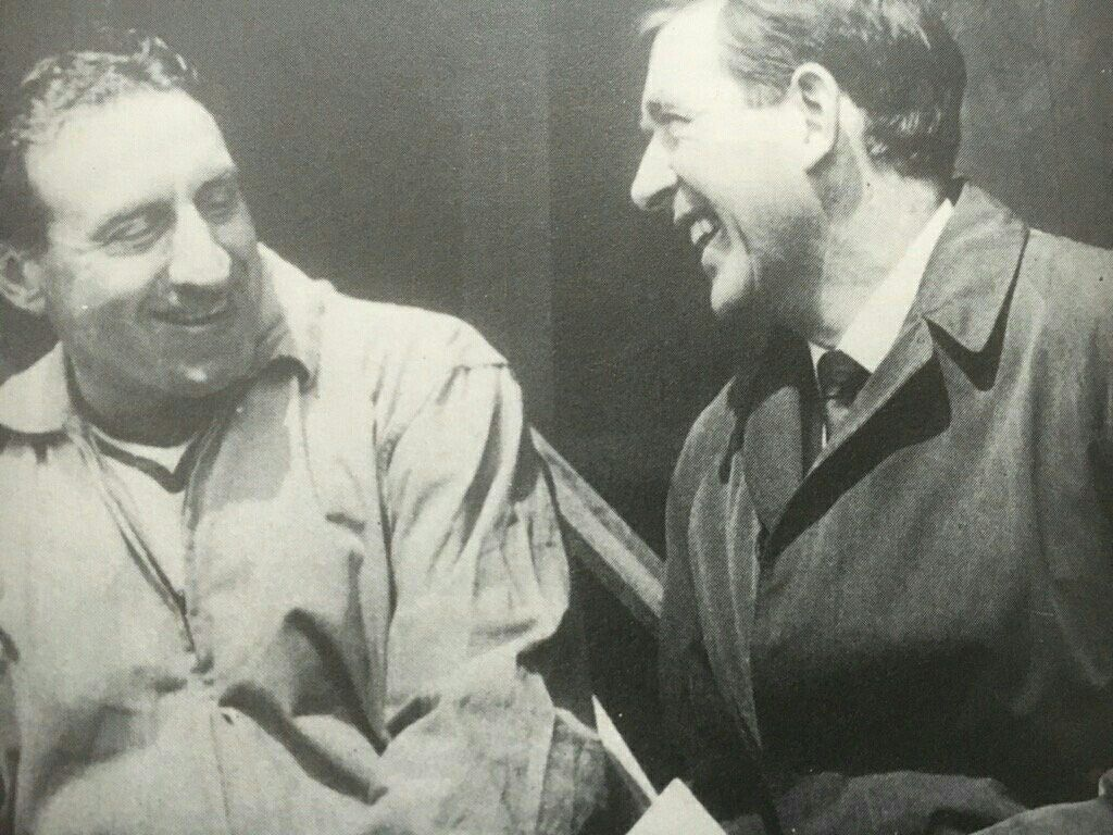 Danny Blanchflower enjoys a joke with then Everton manager Harry