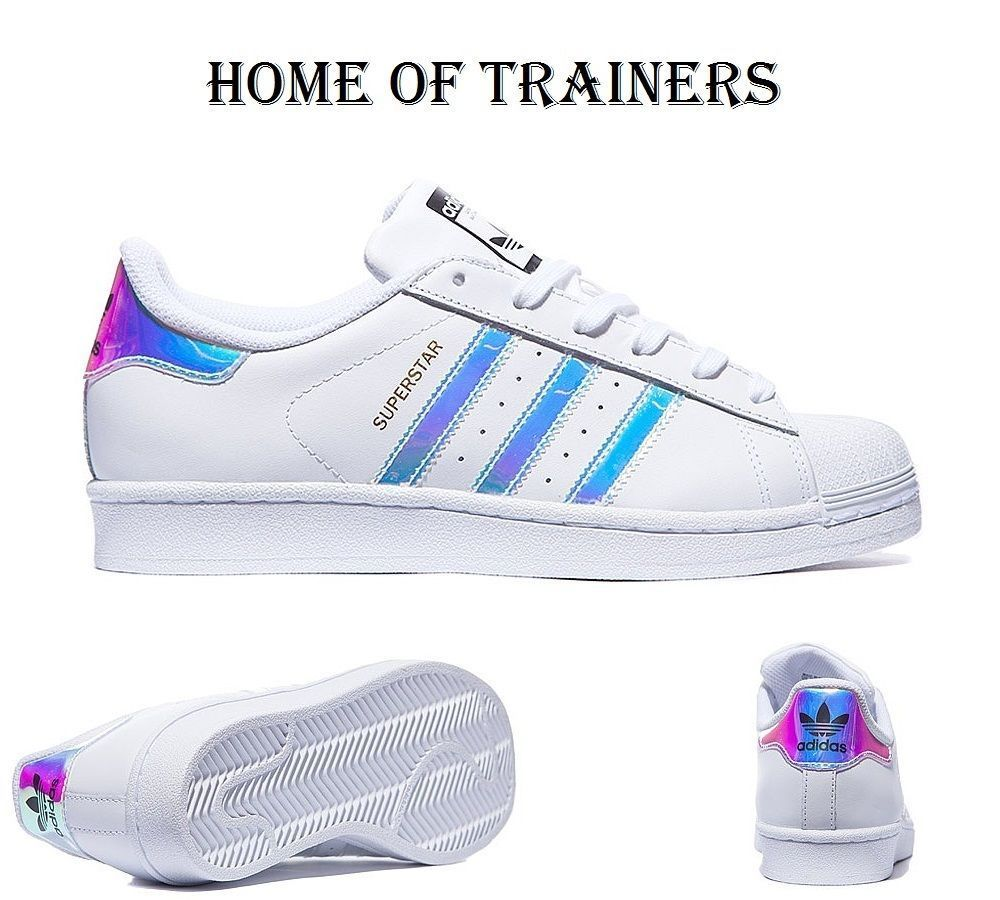 Shop Women's adidas White Blue size 7 Sneakers at a discounted price at  Poshmark. Description: holographic stripes , wore twice.
