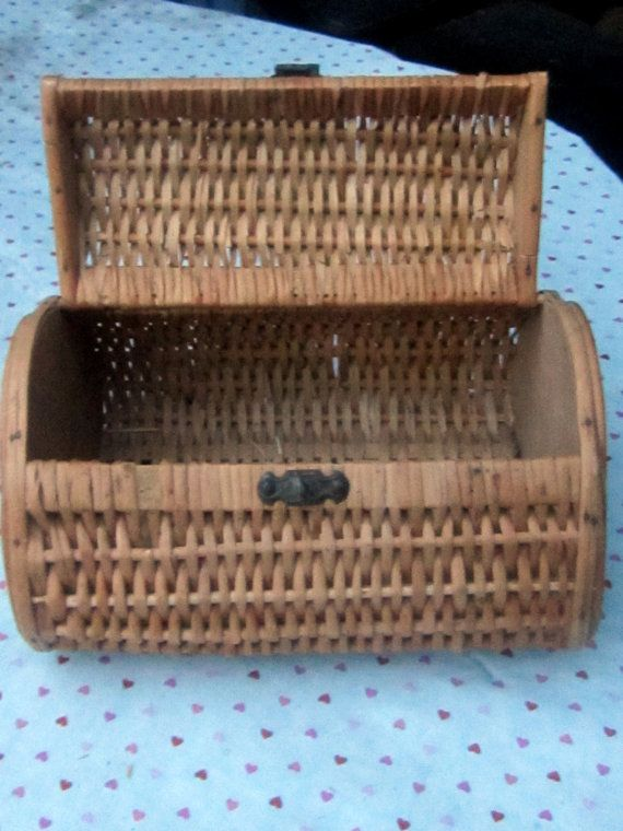 1950's French Hand Woven Wicker Wood Box with by JewelsRosesNRust, $23.00