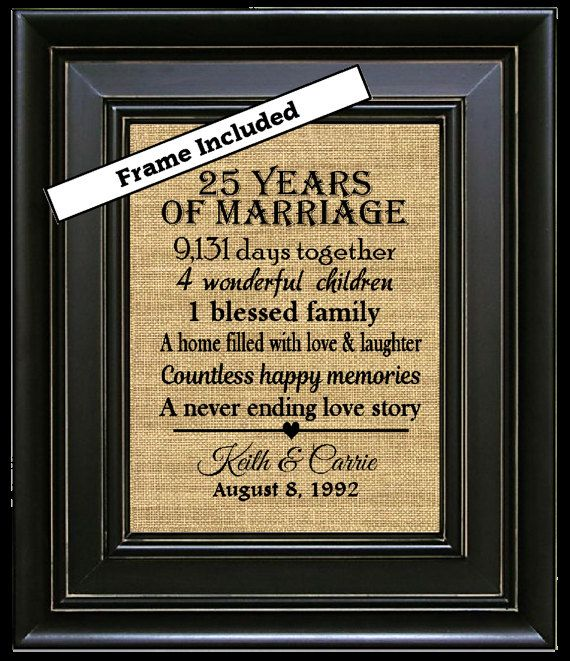 Silver Wedding Anniversary Gift Ideas For Husband: FRAMED 25th Anniversary Gift/25 Years Of Marriage/25th