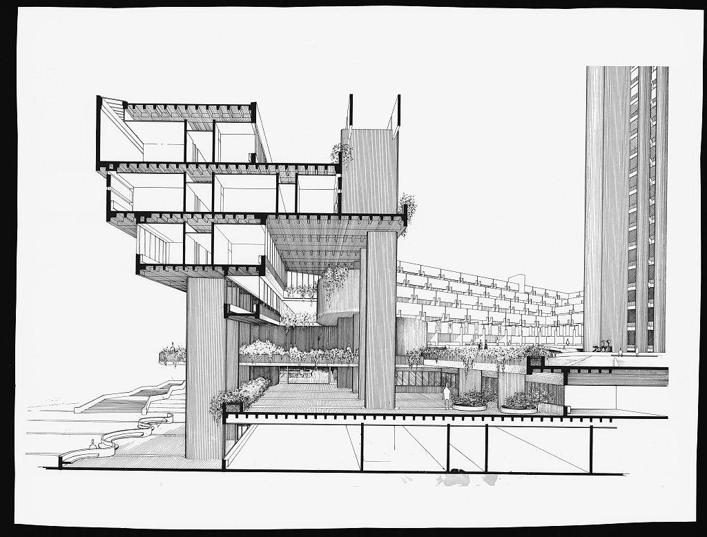 [Boston Government Service Center, Boston, Massachusetts. 1963, Perspective section. Rendering]