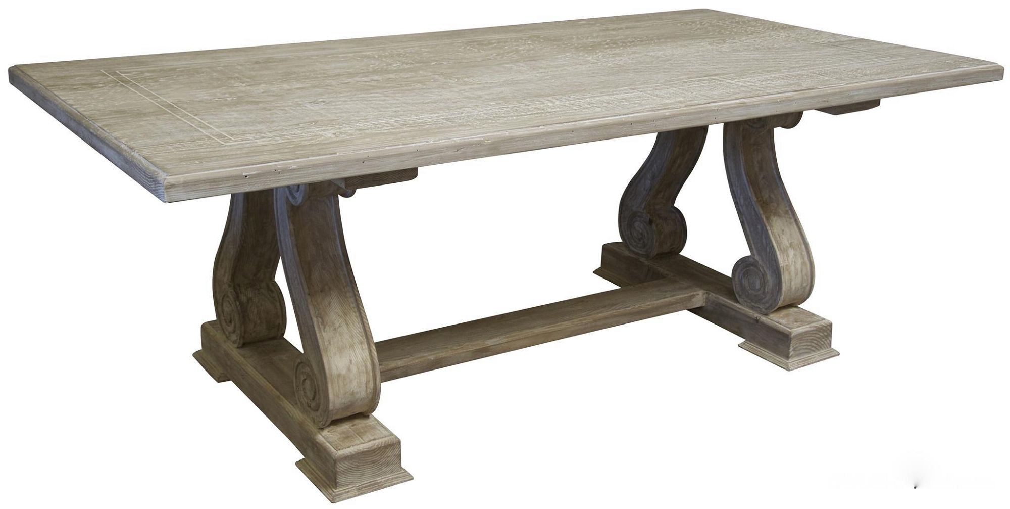 Serpentine Leg Trestle Dining Table In Reclaimed Wood