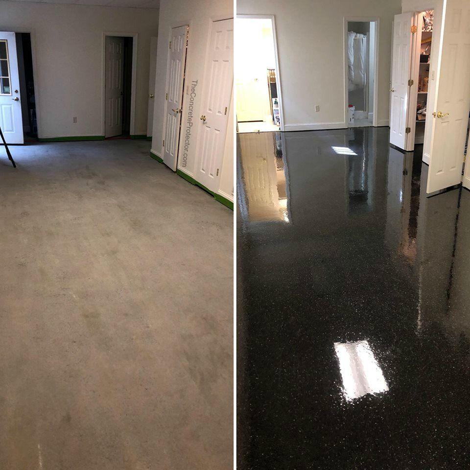 Epoxy Flake Basement Flooring Before And After Pic Berryville Va Concrete Decor Basement Living Rooms Basement Flooring