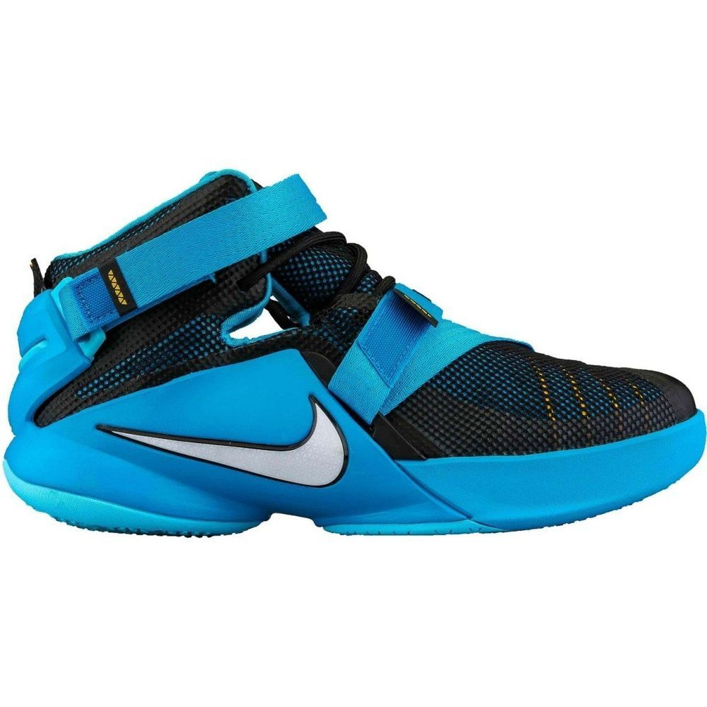 90461134a27 Nike Lebron Soldier IX Boys Basketball Shoes 776471-014 Size 6 BLACK BLUE   Nike