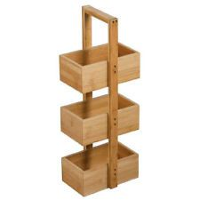 Bathroom Storage Wooden Floor Box 3 Tier Cabinet Bamboo Caddy Floor Standing Bathroom Storage Bathroom Caddy Bathroom