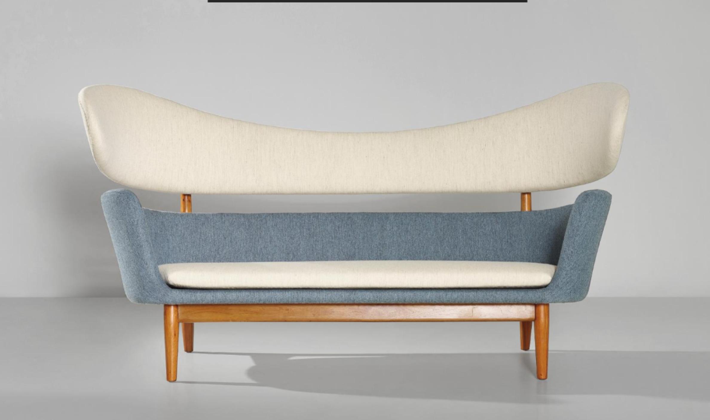 Furniture designed 1951 american walnut wool 99 5 x 194 x 79 cm 39 1 8 x 76 3 8 x 31 1 8 in manufactured by baker furniture inc grand rapids