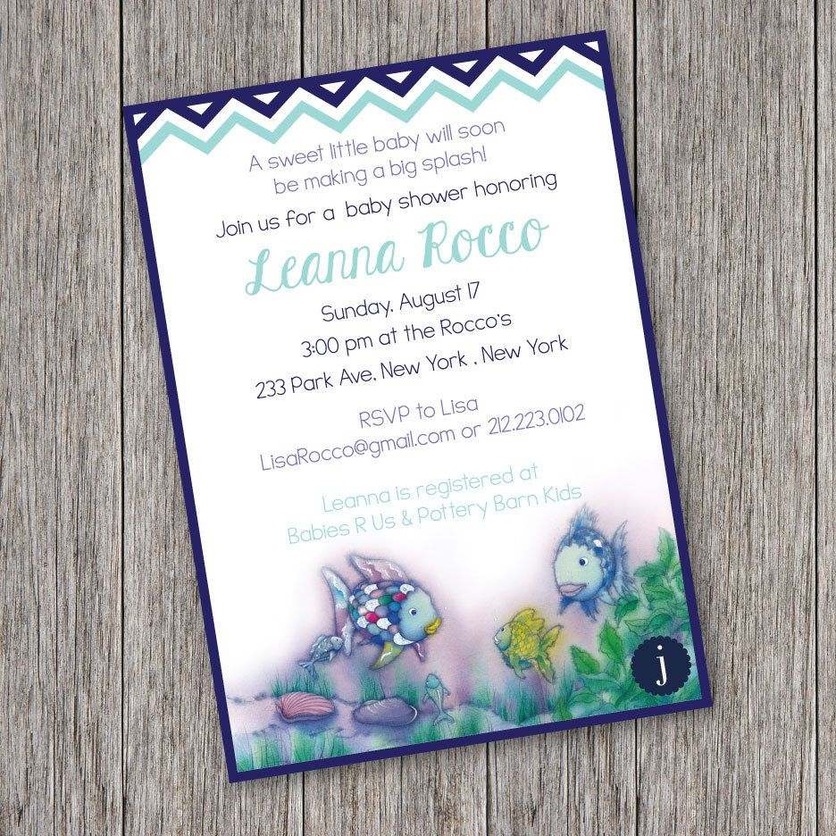 Rainbow fish printable baby shower by jalapenopaperbtq on for Fishing baby shower invitations