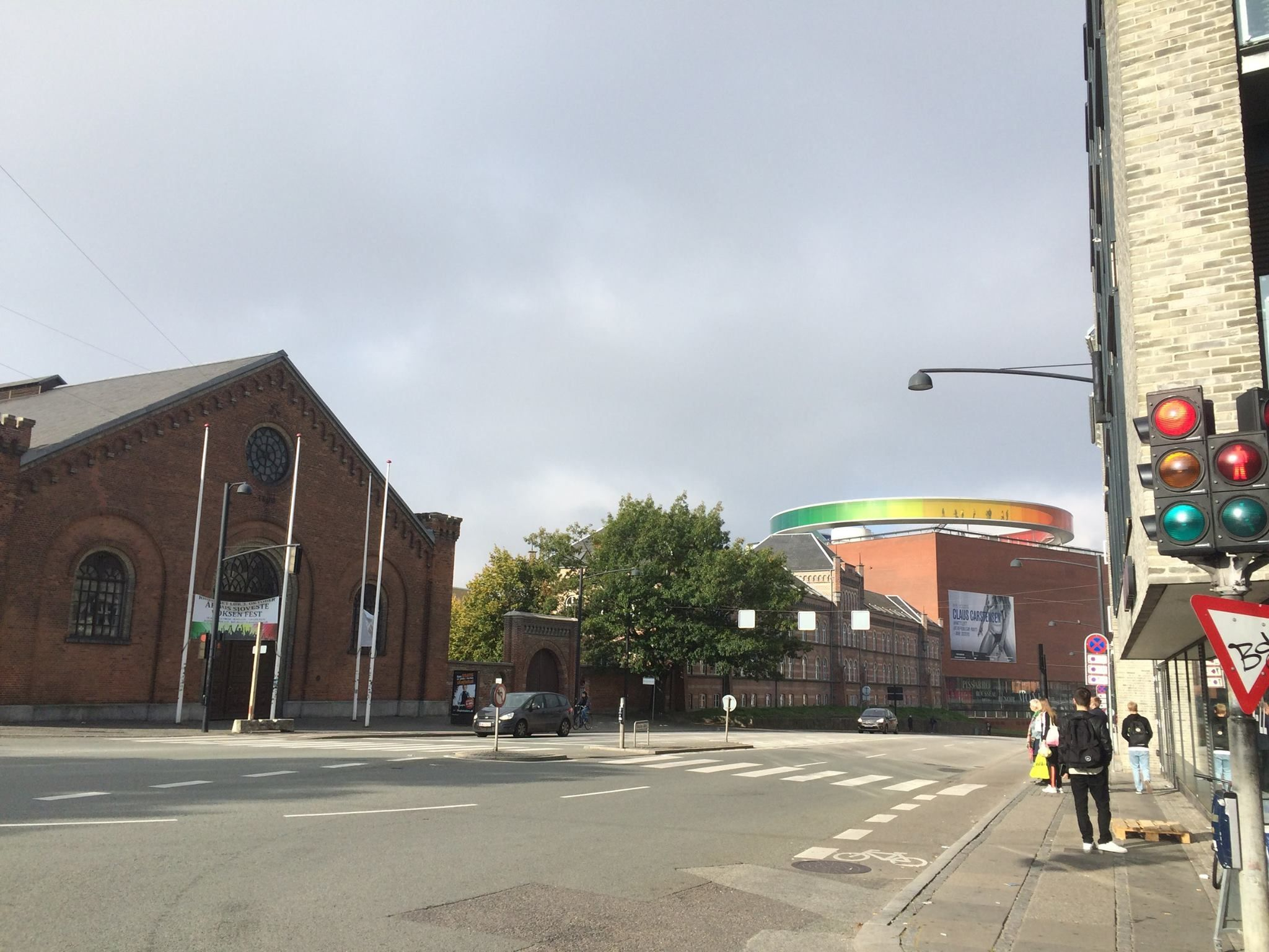 In view the rainbow panorama mounted above the ARoS Aarhus Art Museum building.