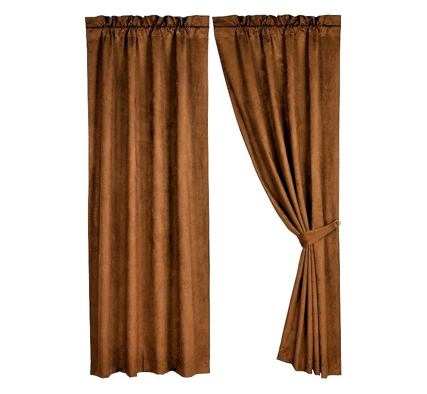 Faux Leather Curtains Tan Rod Pocket Top Cuatain Panels