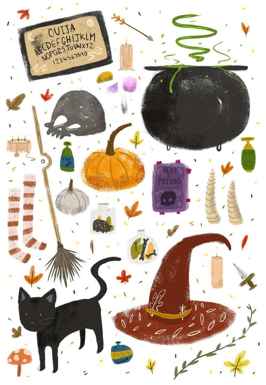 Pin by amanda atha on BeWitching Halloween illustration