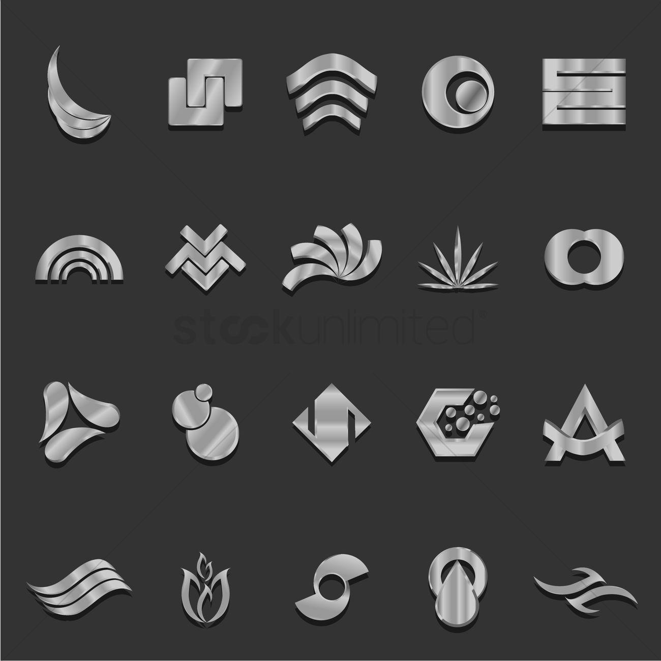 Abstract metallic logo element set stock vector