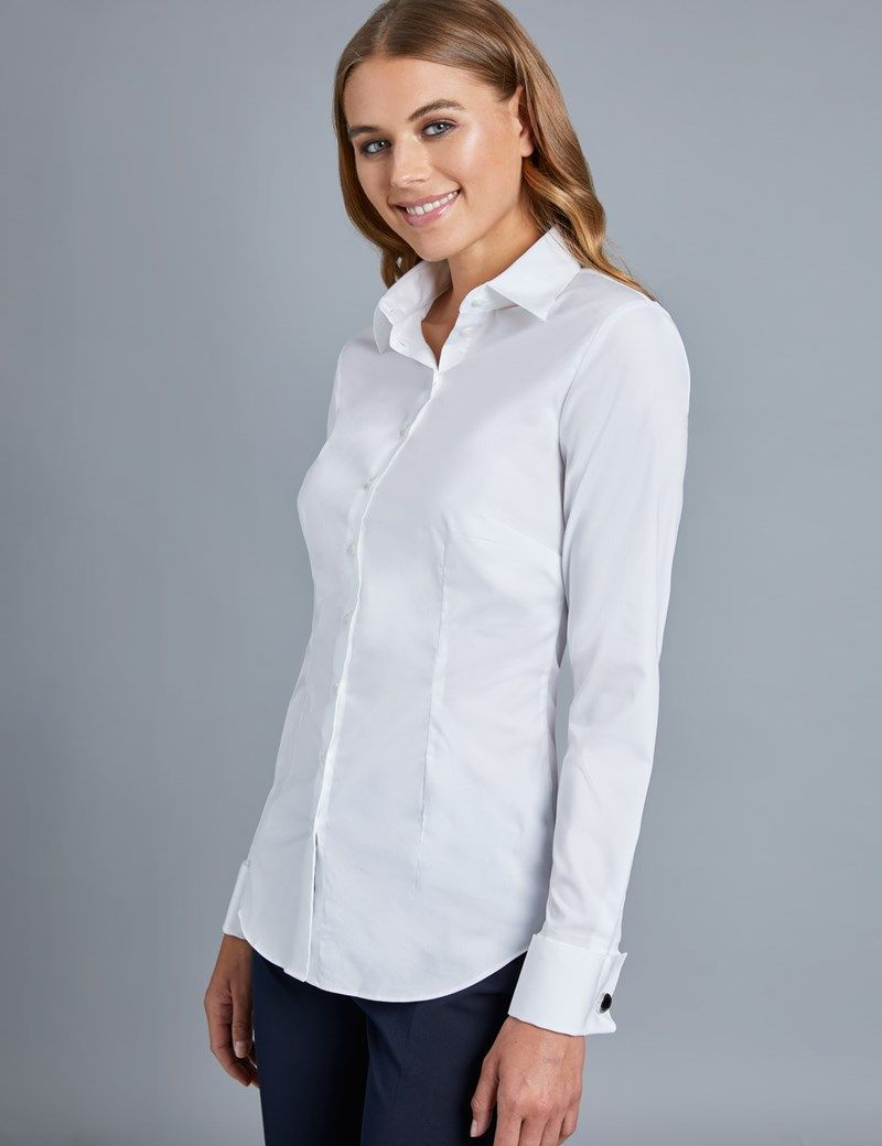 f660ddd25c Women s White Fitted Cotton Stretch Shirt - French Cuffs in 2019 ...