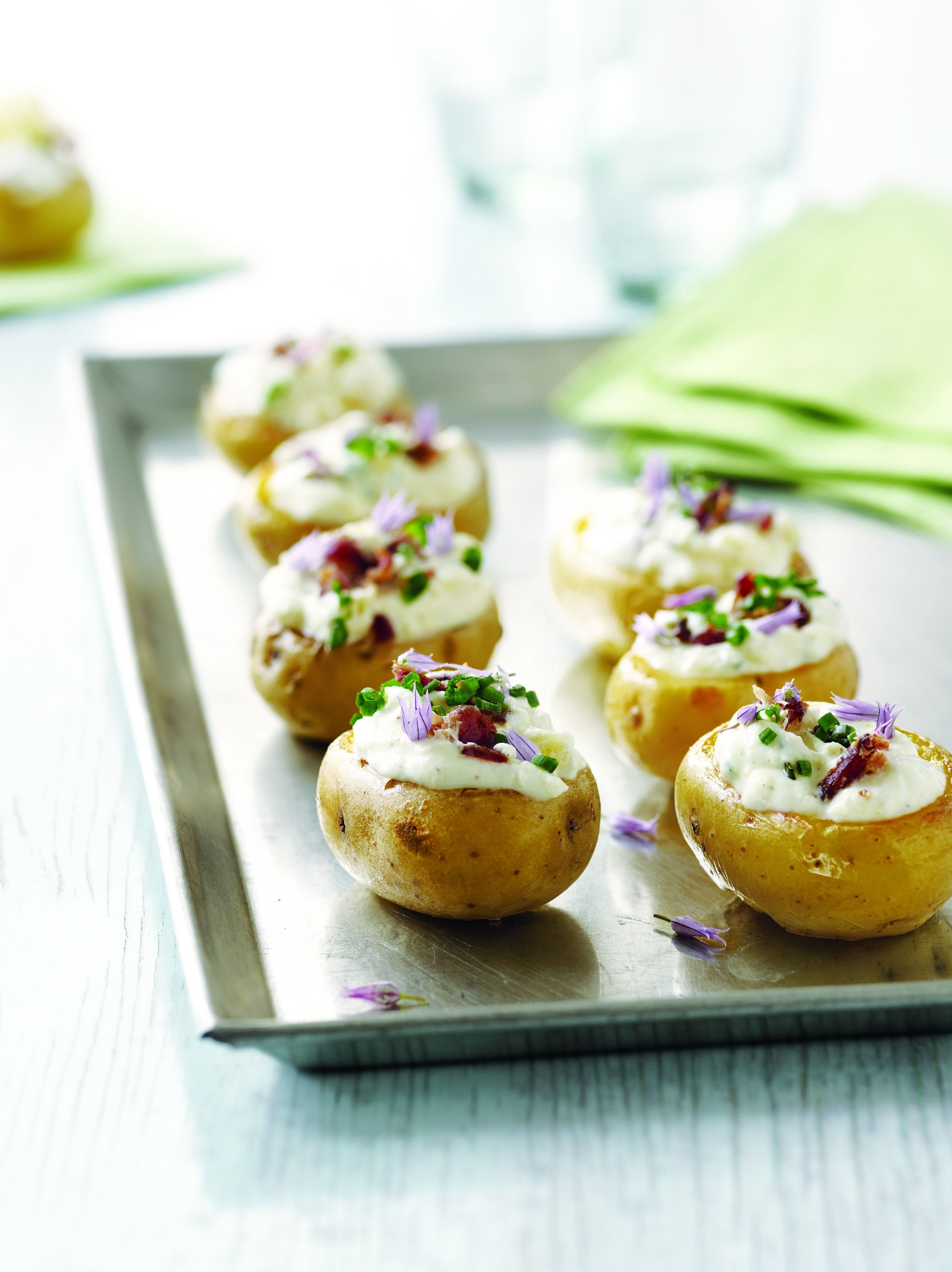 """As inspiration for your """"Festive First Bites"""" entry to the Fast Festive Fun with Sandra Lee Contest checkout my Crispy Baby Potato Bites With Sour Cream And Bacon! Click through pic for recipe on SandraLee.com then find out how you could enter and WIN great prizes from Verizon and I at http://www.verizoninsider.com/sandralee?cmp=SOC-PT-SL-1113-image3"""