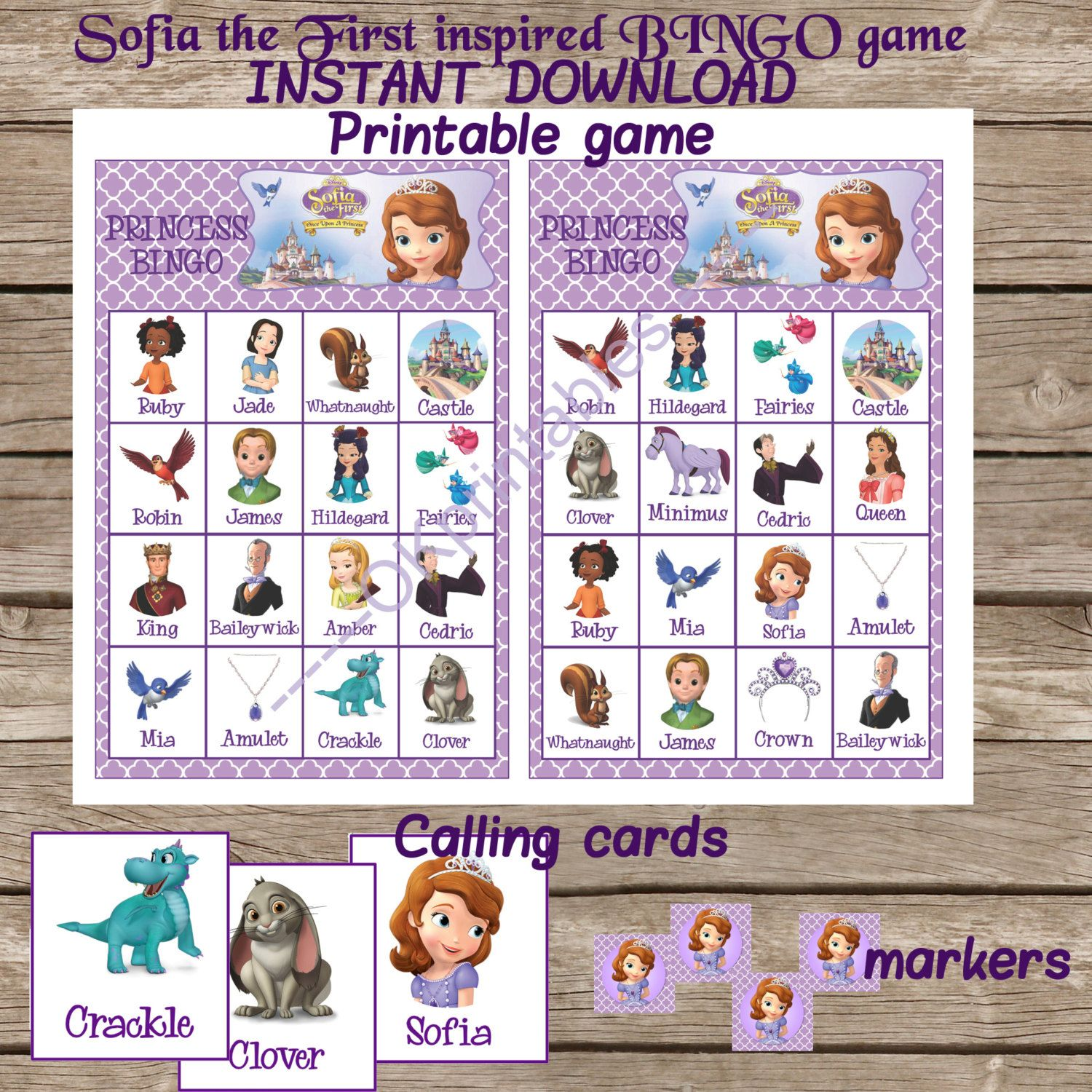 Sofia The First Inspired Bingo Game, Birthday Party Game