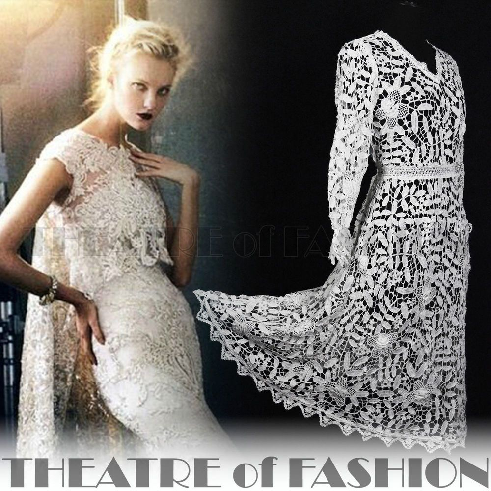 Vintage s dress indian lace crochet wedding s boho