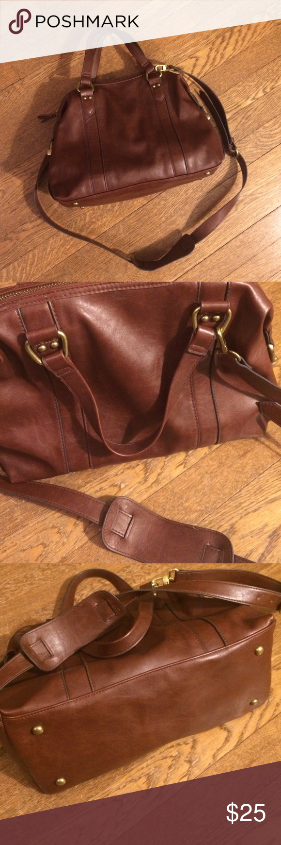 """Vegan leather brown handbag with cross-body strap Excellent condition. Vegan """"leather"""" rich brown color. Brass hardware. Perfect for fall Merona Bags Crossbody Bags"""