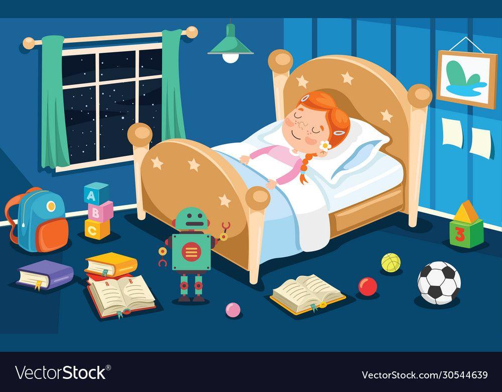 Kid Sleeping At Bed Vector Image On Vectorstock In 2020 Kids
