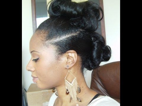 Protective Styling Updo With No Heat Long Hair Pin Curls Relaxed Hair Flat Iron Hair Styles Protective Styles