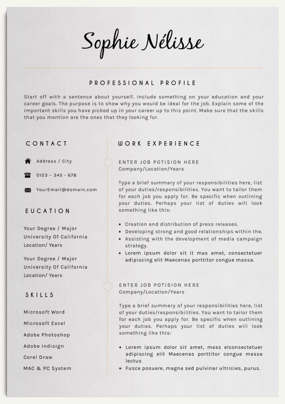 sophie nelisse professional clear resume template for word instant download cv template elegant design t